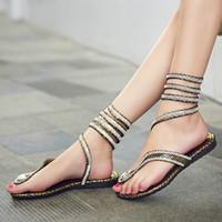 snake print shoes - New Design Women Sandals Summer Style Crystal Rhinestone Gladiator Sandal Snake Shape Strap Flat Heel Shoes Flip Flops TX0308 kevinstyle