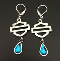 Wholesale Cool L stainless steel biker jewelry ladies biker earrings green blue stone dangle