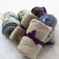 Wholesale 70 cm Flannel Air Sofa Bedding Solid Color Double Faced Travel Fleece Blanket Throw Home Textile Mantas Para Bed Carpet