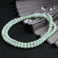 anniversary counter - Counters authentic natural light green jade A goods bead bead necklace Burma jade round bead jade chains for women