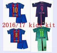 Wholesale 16 barcelona kids jersey kit rd messi kids suarez neymar jr JERSEY SURVETEMENT