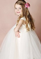 big decoration bows - Empire First Communion Decorations A Big Bow Lace Capped Sleeve Sweetheart Tulle Beautiful Attractive Party Dress