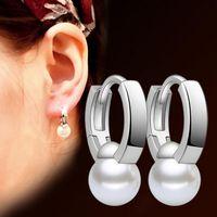abs middle - 925 Sterling Silver Plated ABS Imitation Pearl Earrings Ear Cuff Fashion Fine Women Jewelry Pearl Stud Earrings F40