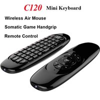 Wholesale C120 Fly Air Mouse Gyroscope USB receiver Axis Sensor Air D Somatic Game Handgrip for Smart Tv Box Wireless Remote Control Game Keyboard