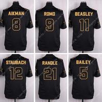 bailey football - New Nik Elite Line Black Gold Cowboys Romo Bailey Aikman Beasley Elliott Staubach Stched Football Jersey Super Bowl Patch
