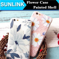 beauty materials - Luxury Floral Painted D Relief Case Beauty Flower DIY Back Cover for iPhone s Plus Soft TPU Material Shell