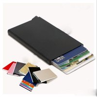 Wholesale Thin Metal Rfid Card Protector Slim aluminum Credit Card holder Wallet One Click All Cards Slide Out Security