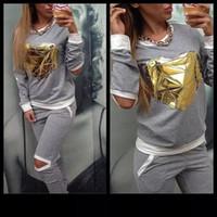 design new tracksuits - New Design Women Piece Set Gold Heart Sportwear Tracksuit Female Hoodies Sweatshirt Hollow Out Pants Girls Jogging Sportsuit