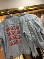 Wholesale The Life Of Pablo Mens Demin Jacket Letter Printed Ripped Hole Vintage Washed Outerwear Fashion Men Brand Jackets Kanye West