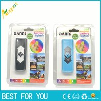 Wholesale Portable DANNI USB lighter Electronic Battery Cigarette Flameless Lighter with flash light display click n vape sneak a toke new hot