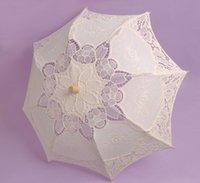Wholesale Cheap Champagne White Bride Bridesmaid Lace Umbrella Handmade cotton lace vintage wooden handle surface radius high quality