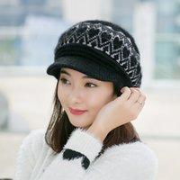 Wholesale color vogue women warm caps geometric fashion design girls Rabbit fur Visors Autumn Winter ladies hats free ship