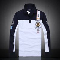 Wholesale New aeronautica militare camisa masculina polo mens Long sleeve shirts high quality Air force one shark polos clothing