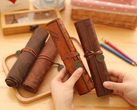 antique pencil box - New Antique nautical treasure map Stationery Gift fashion roll pencil case Big capacity pencil bag Soft leather Pen boxes