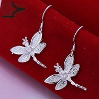 ba set - ashion Jewelry Jewelry Sets Silver Plated Jewelry Set Cheap Bridal Party Sets Inlaid Stone Dragonfly Fashion Silver Necklace Ba