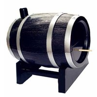 Wholesale Novelty Wine Barrel Shaped Toothpick Holder Automatic Tooth Pick Bucket Kitchen Accessories