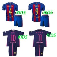 Wholesale High quality Barcelona jerseys KIDS home away SUAREZ MESSI NEYMAR JR Short sleeve shirt shorts