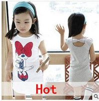 Wholesale on sale buy1 free Girls cartoon Miqimini summer short sleeve T shirt dress Girls Tank Tops kids long style t shirt children clothing