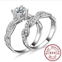 Tamaño 5-10 manera de las mujeres 925 de la Ronda de plata del diamante de la CZ de la piedra preciosa de los anillos Establece la joyería del contrato del aniversario de boda de la dama 2-en-1