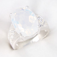 gemstone jewelry - Weddings Jewelry Valentine s Day Gift Oval Rainbow Fire Moonstone Gemstone Sterling Silver Ring