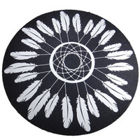 active wallpaper - 2016 Outdoor Black Feather Print Round Beach Towel For Women Cover Ups Tablecloth Blankets Scarves Shawl Yoga Mat Wallpapers