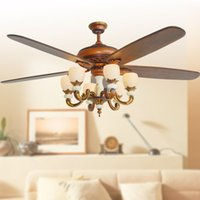 Wholesale 2017 classic ceiling fans lights led inches cm mahogany color five blades ABS fans remote control indoor led ceiling fan V V