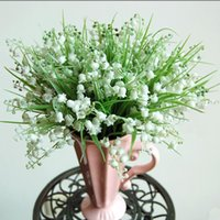 Wholesale Plastic soft real touch lily of the valley spray artificial Lily of the valley belletrists bride holding flowers for wedding flower bouquets