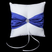 Wholesale JEYL Hot White Satin Bowknot Wedding Party Pocket Ring Pillow Cushion
