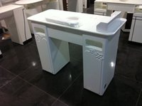 Wholesale Ikea used led white tempered Glass manicure table nail desk with dust collector for nail beauty salon by sea
