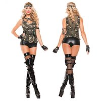 adult rpg - Adult Camouflage Female Instructors Costume Halloween Cosplay Sexy Womens RPG Military Service Stage Outfit Uniform Uniforms