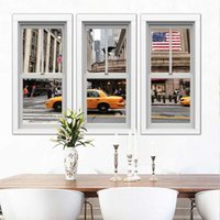 american flag window sticker - 2016 New D Window view Wall mural strickers for living room bedroom Printed American flag and street poster quot quot Eco Friendly PVC