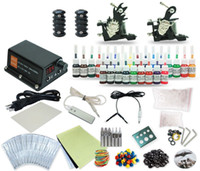 Wholesale Good Quality Best Price USA Complete Tattoo Kit Liner Shader machine Gun Color Inks Power Supply TK