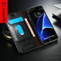 book flip - Original CaseMe Brand Logo Unique Magnet Flip Wallet Card Leather Phone Case Book Cover For Samsung Galaxy S7 S7 Edge Cover