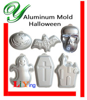 aluminum party trays - Halloween Cakes Mold Pan Skull Ghost Pumpkin Aluminum Birthday Cake mould stand Pudding Tray baking pastry tools kids party supplies