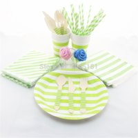 Wholesale Disposable Party Tableware Striped Design Paper Plates Cups Straws Napkins Bags Wooden Fork Spoon Knife