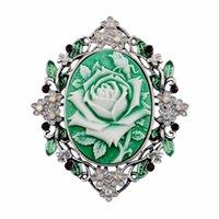beauty bouquet - European and American popular jewelry rhinestone resin beauty head brooch pin bouquet wedding women