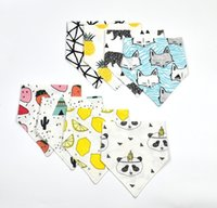 Wholesale Baby INS cotton bibs Newborn KIDS Burp Cloths double layer girls boys cartoon animal owl watermelon pattern bibs