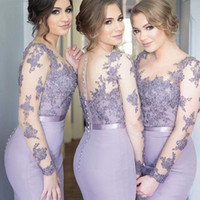 Wholesale Lilac Illusion Long Sleeve Bridesmaid Dresses Mermaid Satin Covered Button Back Plus Size Lace Formal Evening Gowns Maid of Honor Dress
