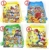 Wholesale Poke go Pikachu drawstring Bags style NEW Children cartoon Poke Ball Backpacks non woven fabrics School Bags