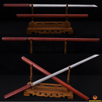 Cheap Japanese Samurai Katana Sword Ninja Damascus Steel Zatoichi Red Wooden Shirasaya Full Tang Straight Blade Katanas Sharp Handmade