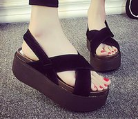 Wholesale summer female large base platform sandals shoes