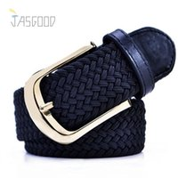 belt buckles for girls - Fashion Woven Elastic Womens Belts Needle Buckle Female Belts Casual Geometric Straps as Gift for Women or Girls Hot Designer