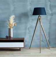 Wholesale American countryside European Style Retro Creative Fabric Lampshade Wood Tripod Triangle Floor Lights Lamp Indoor Lighting Fixtures