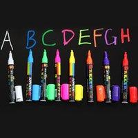 Wholesale 8 Colours Erasable Oblique Highlighter Pen Set mm Liquid Chalk Fluorescent Neon Marker LED Window Glassboard Pens