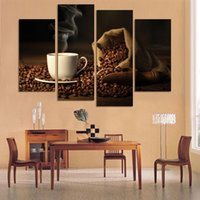 Cheap 4 Panels Modern Printed Coffee Canvas Art Painting Picture Cuadros Kitchen Home Decor Wall Art For Living Room Unframed
