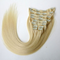 Wholesale 160g set inch Clip in Hair Extensions Smooth Brazilian human Hair Beach Blonde Remy Straight Hair more colors