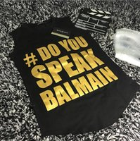 Wholesale Balmain Gianna Jun star with letters printed sleeveless t shirt women s black vest