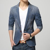 Wholesale New Spring Fashion Brand Men Blazer Men Trend Jeans Suits Casual Suit Jean Jacket Men Slim Fit Denim Jacket Suit Men