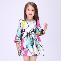 animal graphs - High Quality Kids Costume Spring and Autumn Graffiti Abstract Graph Print Long Sleeved Formal Princess Dress