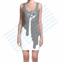 big m milk - Custom Made Big Outer Space Spill Colors grey purple D Sublimation Print Milk Silk Dress women clothing